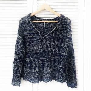 Free People Open Knit V-Neck Sweater NWOT